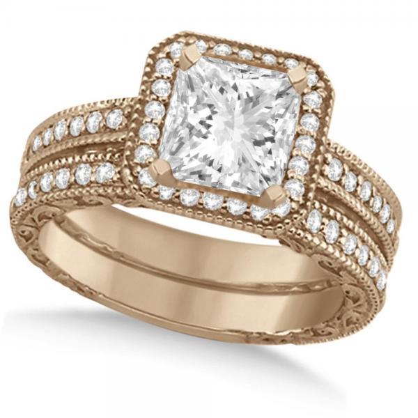 Milgrain Square Halo Princess Cut Bridal Set 18k Rose Gold (1.20ct)