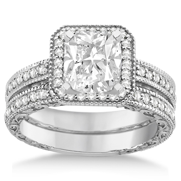 Square Halo Wedding Band Engagement Ring 14kt White Gold 052ct