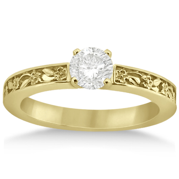 Flower Carved Solitaire Engagement Ring & Wedding Band 14k Yellow Gold