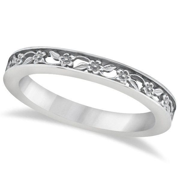 Carved Wedding Ring Filigree Stackable Band 18kt White Gold