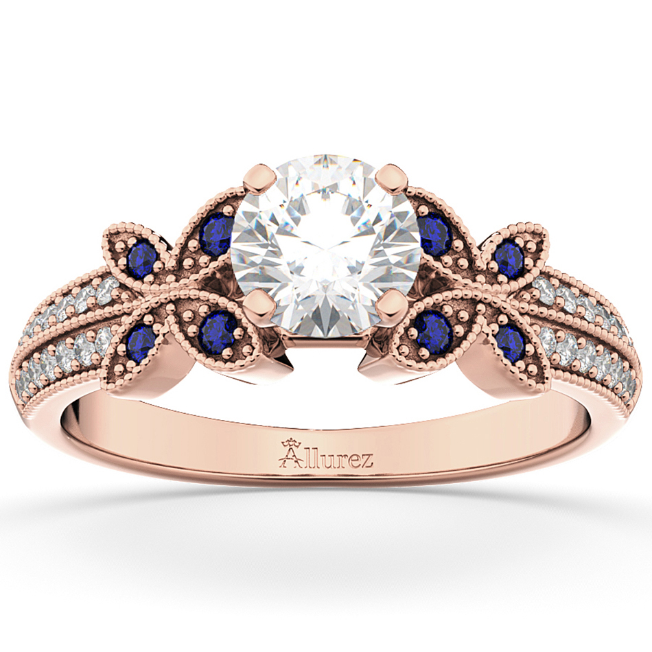 Diamond and Blue Sapphire Butterfly Engagement Ring 18K Rose Gold