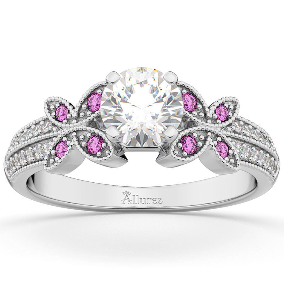 4d8977e7f2cf4 Diamond & Pink Sapphire Butterfly Engagement Ring 14K White Gold