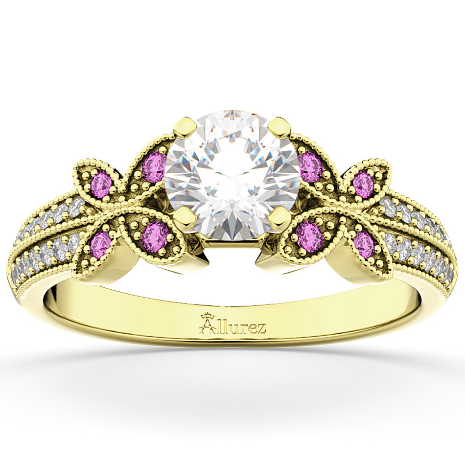 Allurez Diamond and Pink Sapphire Butterfly Engagement Ring 14K Yellow Gold