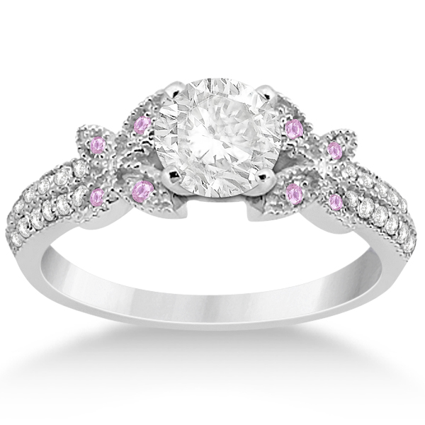 Diamond and Pink Sapphire Butterfly Engagement Ring Setting Palladium