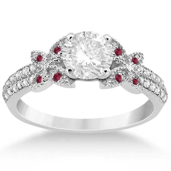 Diamond & Ruby Butterfly Engagement Ring Setting 14K White Gold