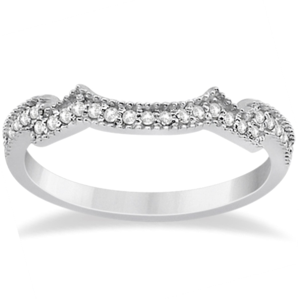 Butterfly Milgrain Diamond Ring & Wedding Band Palladium (0.40ct)