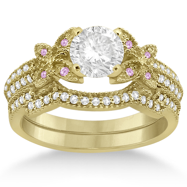 Butterfly Diamond and Pink Sapphire Bridal Set 18k Yellow Gold (0.39ct)