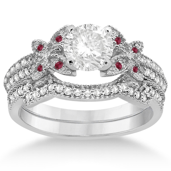 Butterfly Diamond and Ruby Bridal Set 14K White Gold (0.39ct)