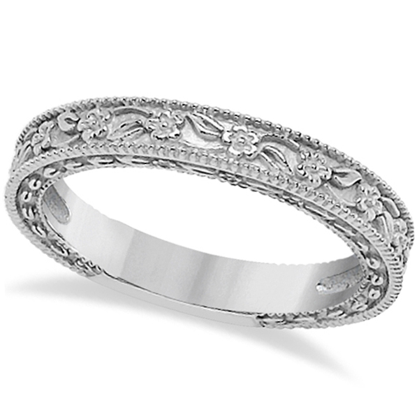 Carved Floral Designed Wedding Band Anniversary Ring 14K White Gold
