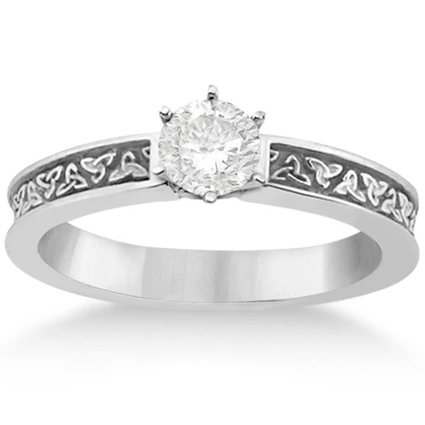 Carved Irish Celtic Engagement Ring & Wedding Band Set 14K White Gold