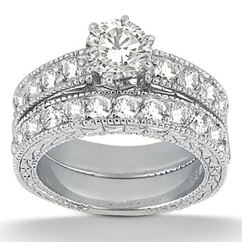 Antique Diamond Engagement Ring & Wedding Band 18k White Gold (1.70ct)