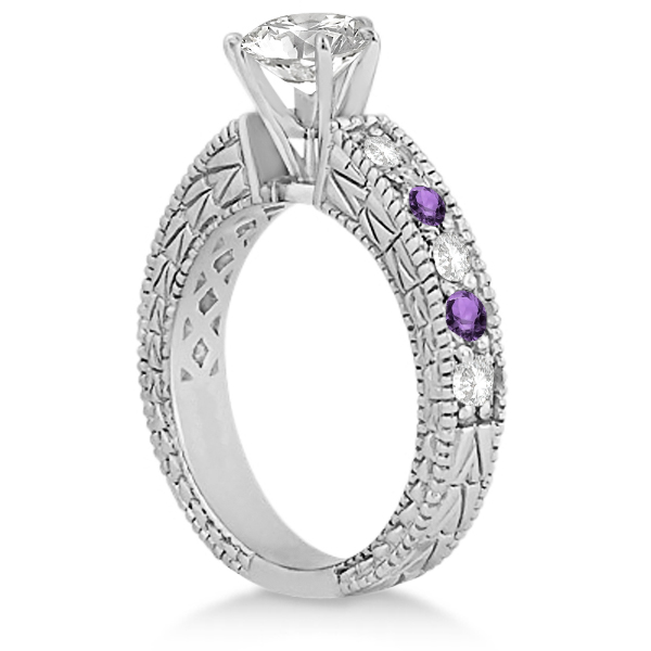 Antique Diamond & Amethyst Engagement Ring 14k White Gold (0.75ct)