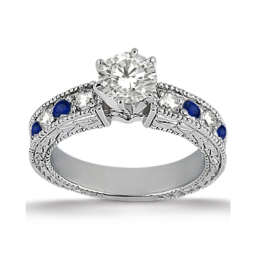 Allurez Antique Diamond and Blue Sapphire Engagement Ring...