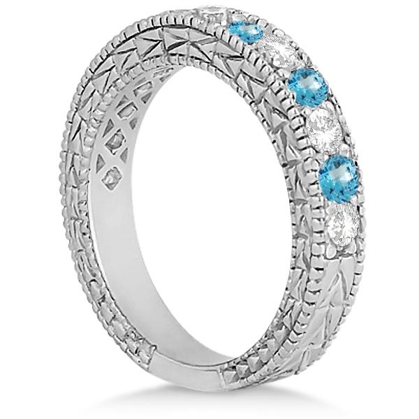 Antique Diamond & Blue Topaz Bridal Set 14k White Gold (1.80ct)