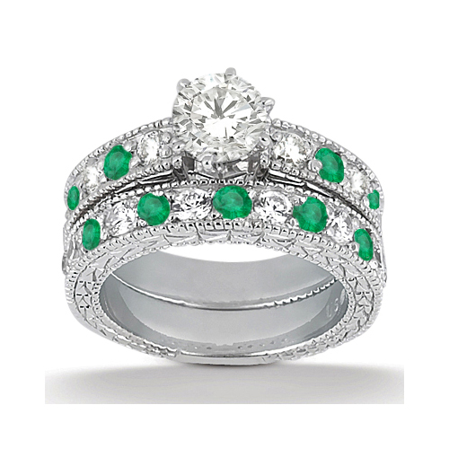 Allurez Antique Diamond and Emerald Bridal Set 14k White ...