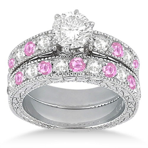 Allurez Antique Diamond and Pink Sapphire Bridal Set 14k ...