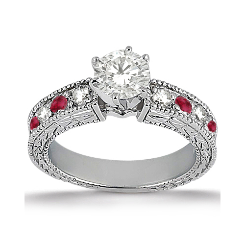 Allurez Antique Diamond and Ruby Engagement Ring 14k White Gold (0.75ct) at Sears.com
