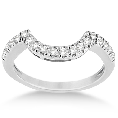 Pave Curved Diamond Wedding Band 14k White Gold 0 20ct