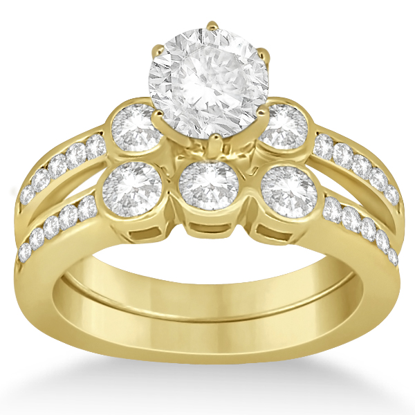 Allurez 3 Stone Bezel Set Diamond Ring and Band Bridal Set 18k Y. Gold (1.08ct) at Sears.com