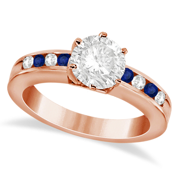 Channel Diamond & Blue Sapphire Engagement Ring 14K R Gold (0.40ct)