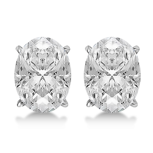 1.00ct. Oval-Cut Diamond Stud Earrings Platinum (G-H, VS2-SI1)