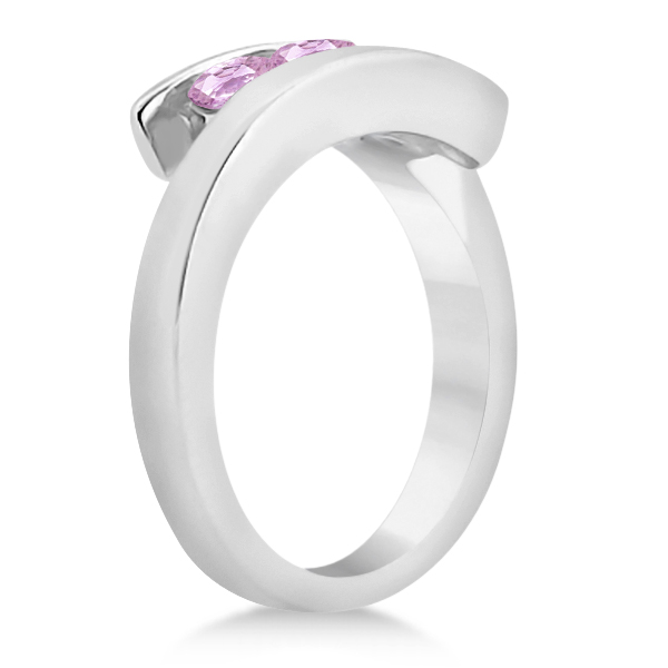 Pink Sapphire Journey Ring Tension Set in 14K White Gold 0.90ctw