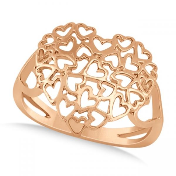 Carved Open Heart Shaped Ring Crafted in 14k Rose Gold Allurez