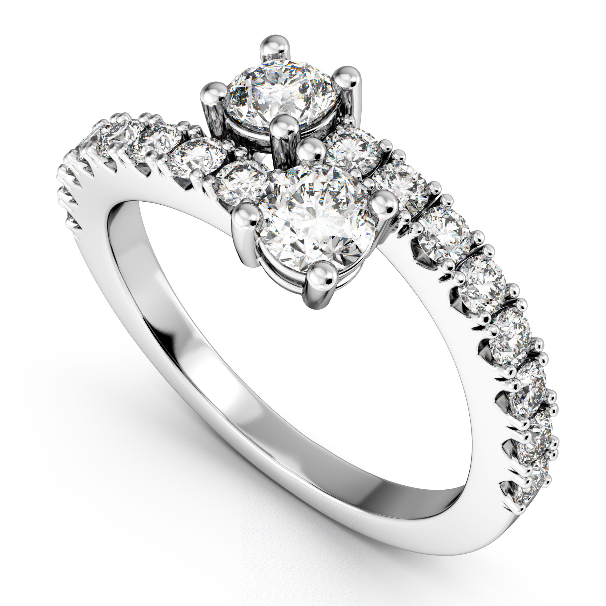 """Ever Us"" Two Stone Diamond Ring with Accents Palladium (1.06ct)"
