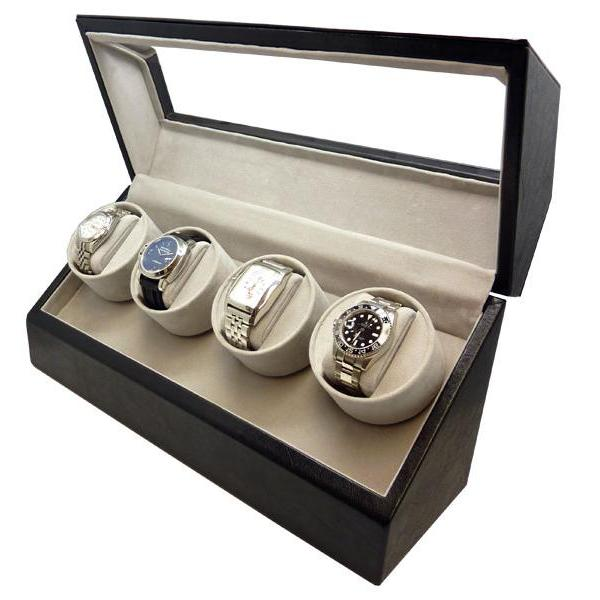 Allurez Quad Automatic Watch Winder in Black Leather