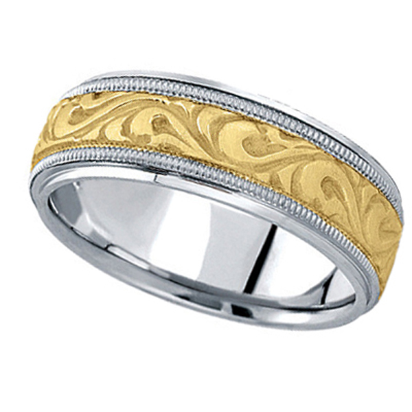 Allurez Antique Style Handmade Wedding Band in 18k Two To...