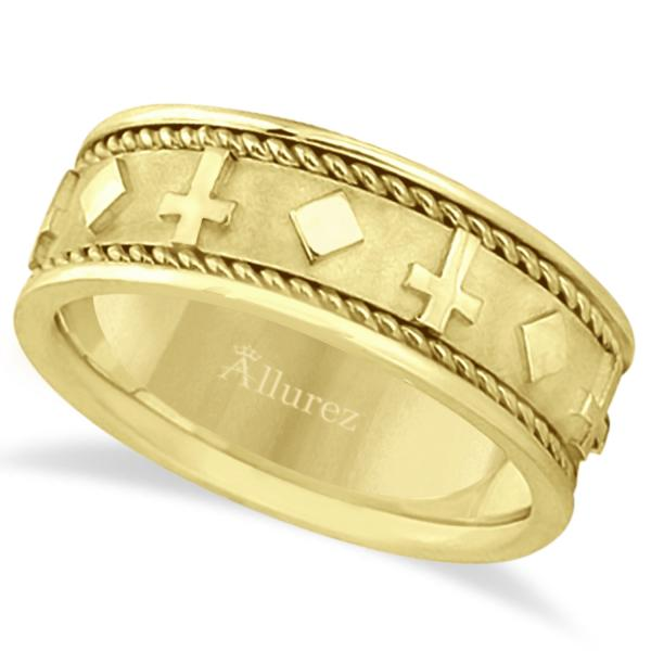 Allurez Handmade Wedding Band With Crosses in 18k Yellow ...