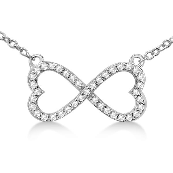 Pave Infinity Heart Diamond Pendant Necklace 14k White Gold (0.39ct)