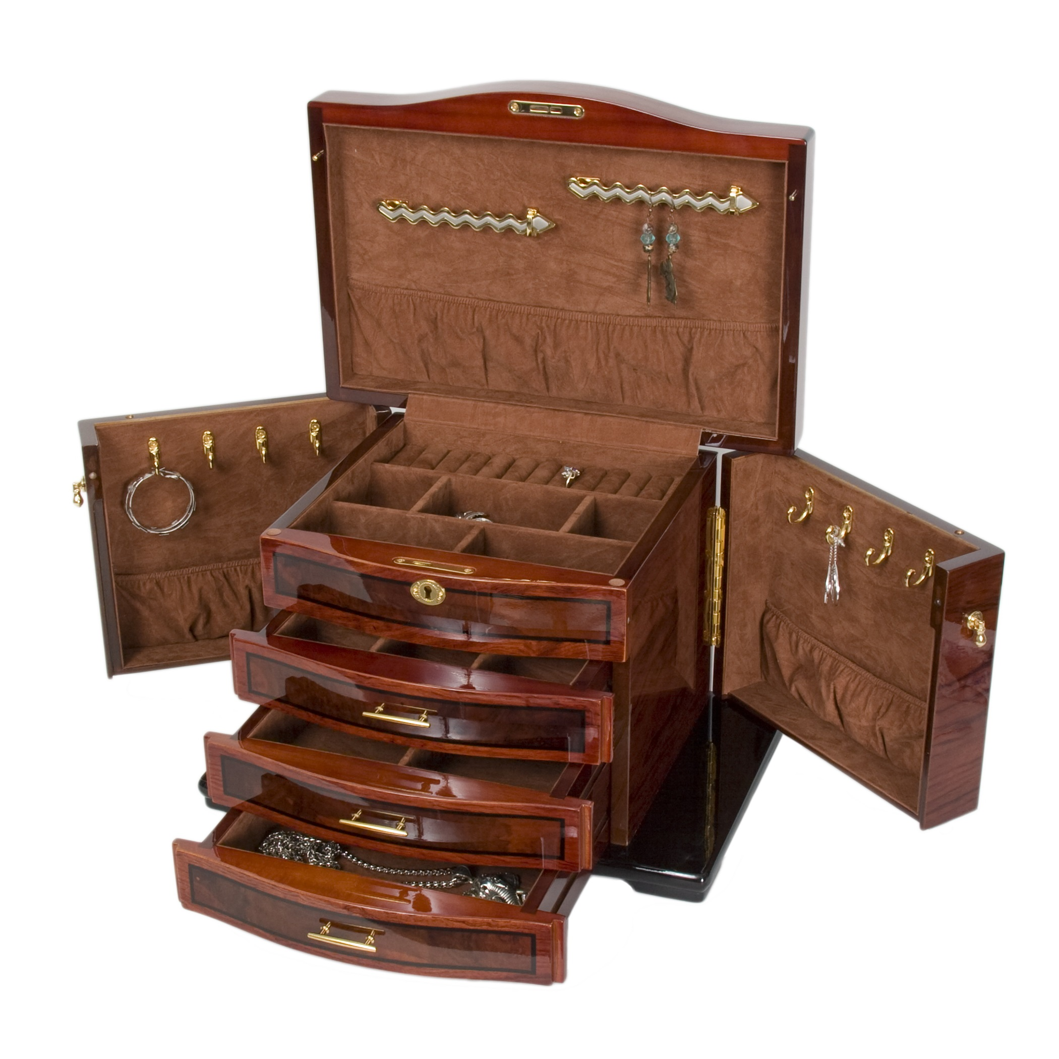 Allurez Burlwood Inlay Jewelry Chest w Necklace Hooks and...