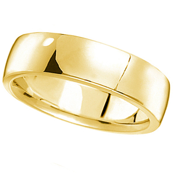 Allurez Men's Wedding Ring Low Dome Comfort-Fit in 18k Ye...