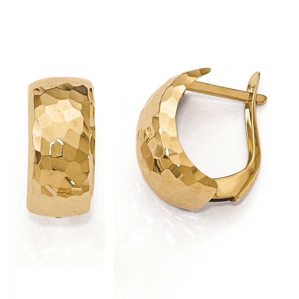 Polished Textured Oval Hoop Fine Earrings 14k Yellow Gold