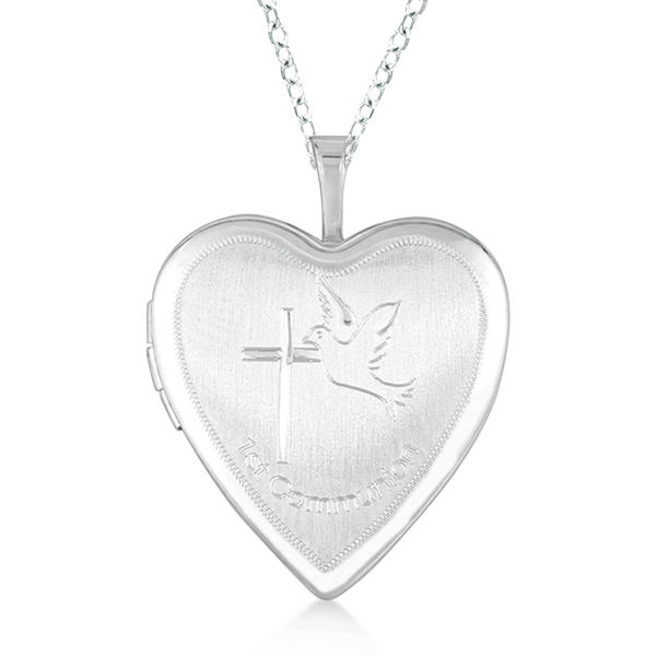 Allurez Hand Engraved Heart Locket Necklace w/ Cross and Dove Sterling Silver at Sears.com