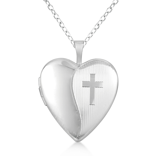 Allurez Hand Engraved Cross and Heart Pendant Necklace Locket Sterling Silver at Sears.com