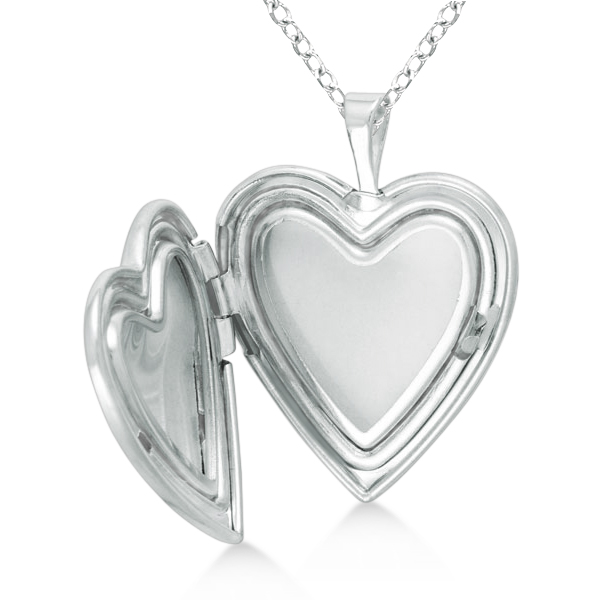 Sterling Silver Vintage Engraved Heart Diamond Locket Necklace (.01ct)