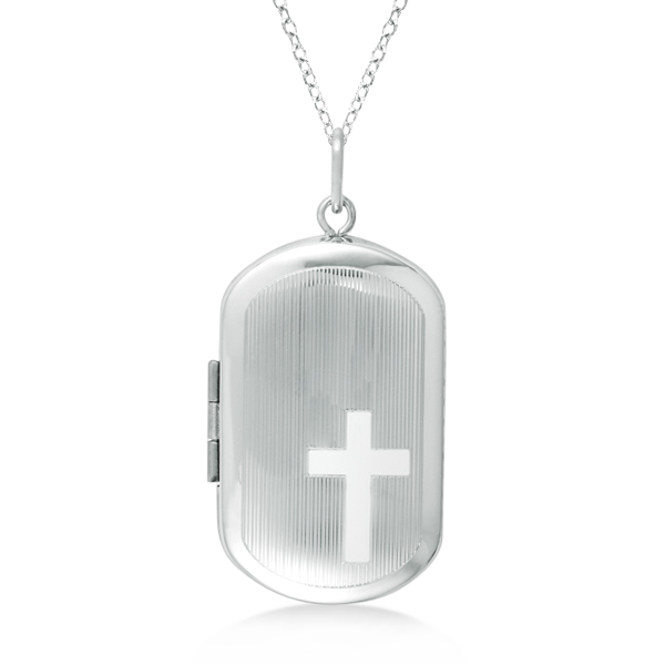 Allurez Rectangular Shaped Locket Necklace Cross Design Sterling Silver at Sears.com