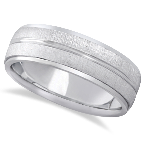 Allurez Modern Carved Wedding Band For Men in Platinum (7mm)