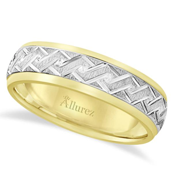 b047e61cec980 Men's Carved 14k Two-Tone Wedding Band (5mm)
