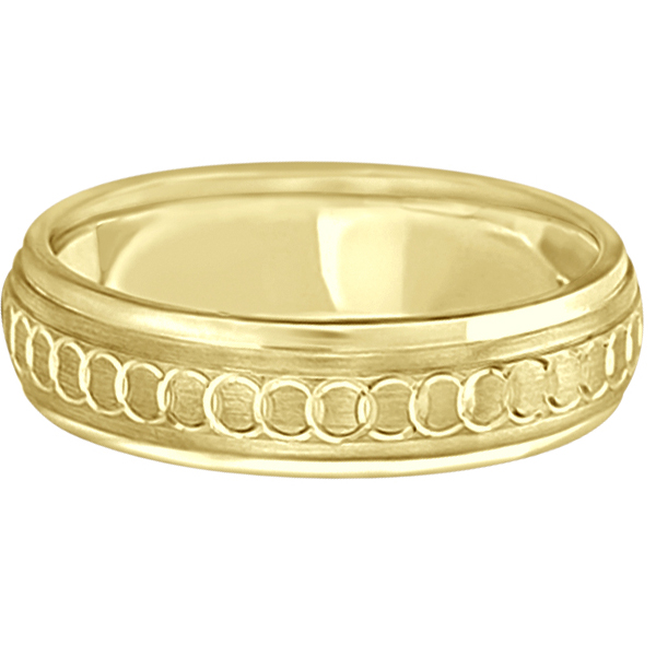 Infinity Wedding Band For Men Fancy Carved 14k Yellow Gold (5mm)