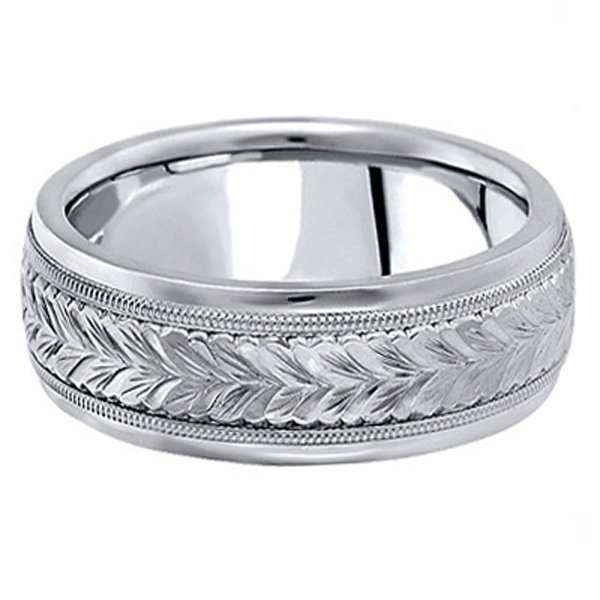 Hand Engraved Wedding Band Carved Ring in 18k White Gold (6.5mm)