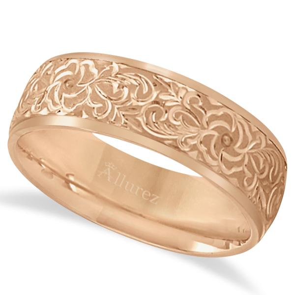 Hand engraved flower wedding ring wide band 14k rose gold 7mm hand engraved flower wedding ring wide band 14k rose gold 7mm junglespirit Image collections