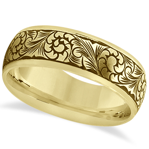 Allurez Fancy Hand-Engraved Flower Design Wedding Band in 18k Yellow Gold at Sears.com
