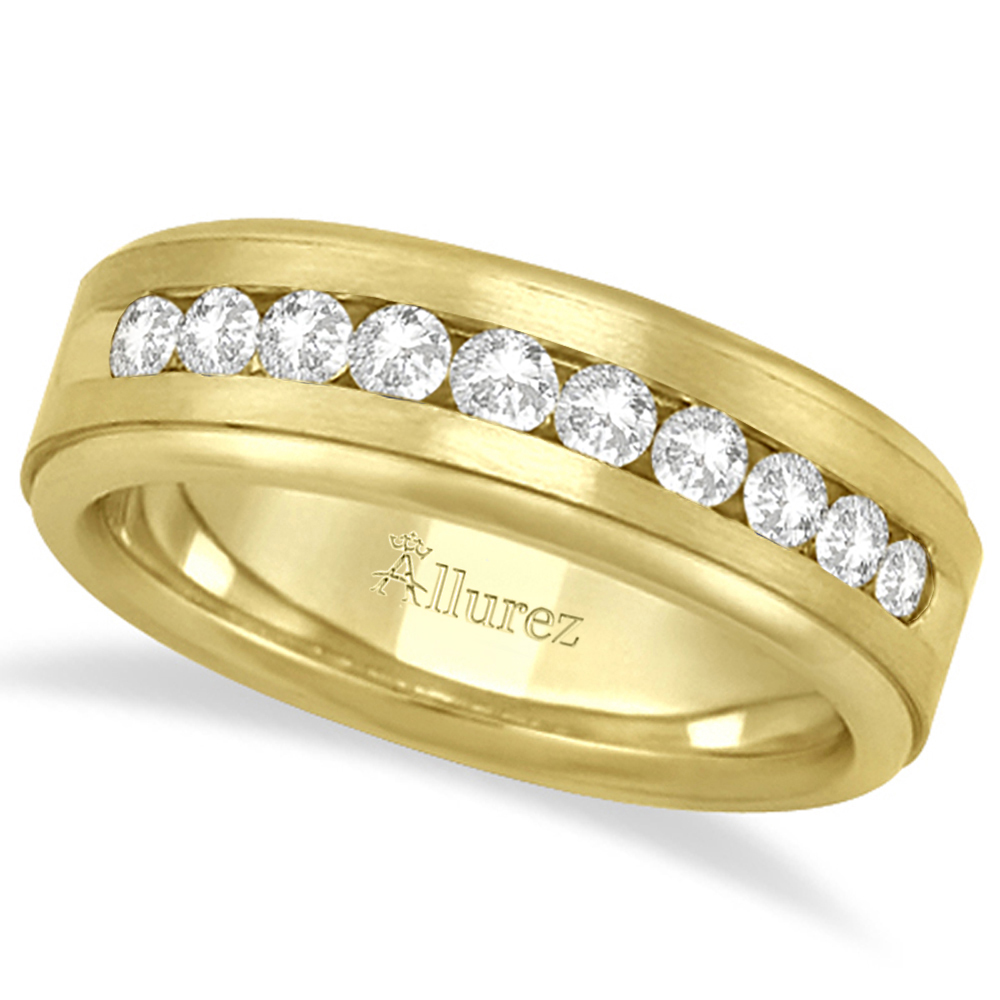 8fb405317c Men's Channel Set Diamond Ring Wedding Band 14kt Yellow Gold (1/4ct)