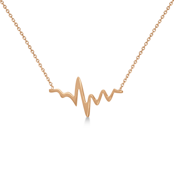 Adjustable Heartbeat Pendant Necklace in 14k Rose Gold