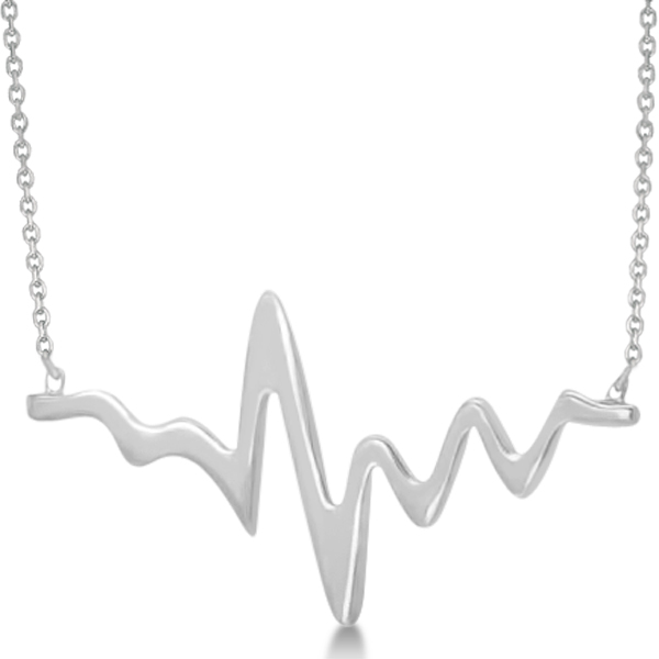 Adjustable Heartbeat Pendant Necklace in 14k White Gold