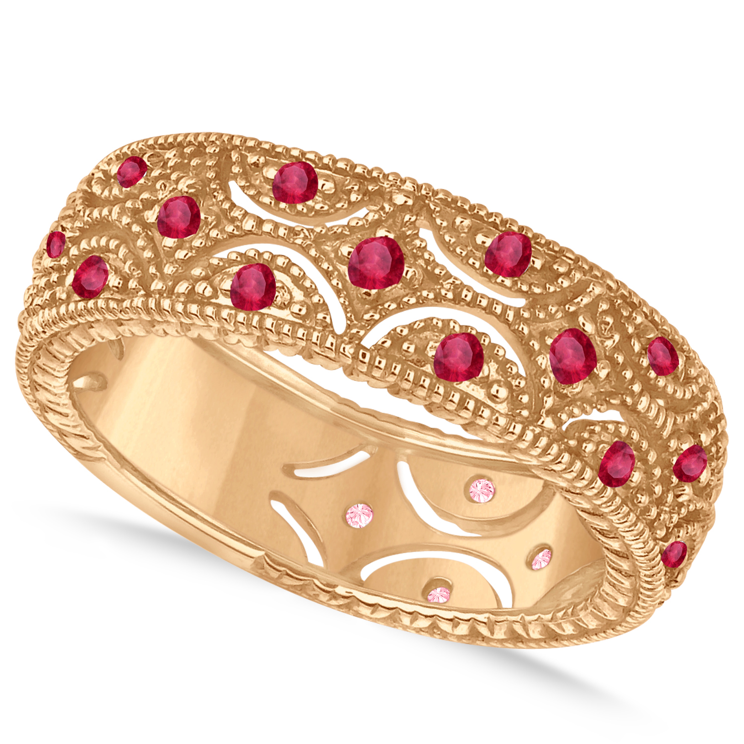 Ruby Milgrain Vintage Eternity Band 14k Rose Gold (0.38ct)