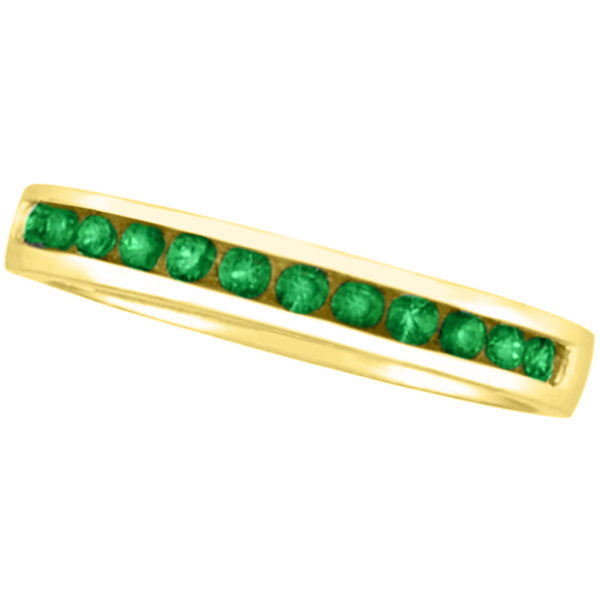 Allurez Channel-Set Emerald Band Stackable Ring 14k Yello...